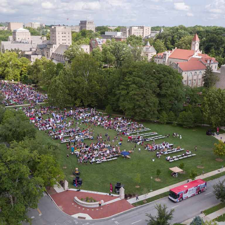 aerial view of large student event crowd on campus